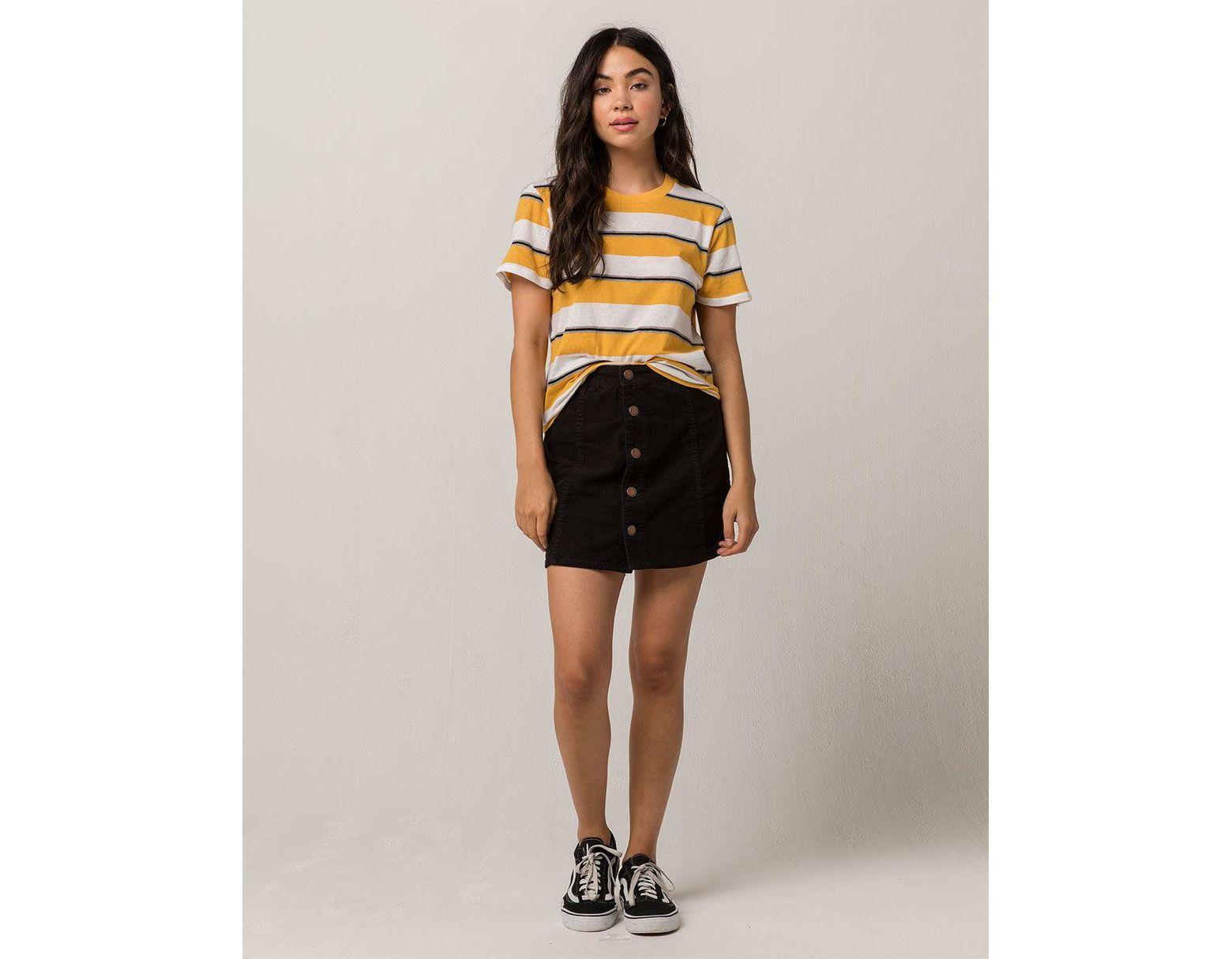 c5a30cb84 Billabong Push My Buttons Corduroy Mini Skirt in Black - Lyst