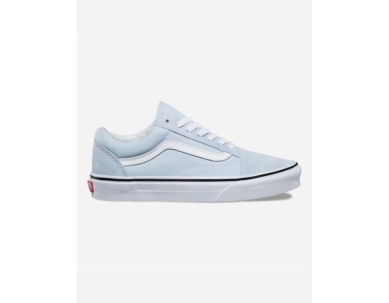 1db3374b Old Skool Baby Blue & True White Womens Shoes