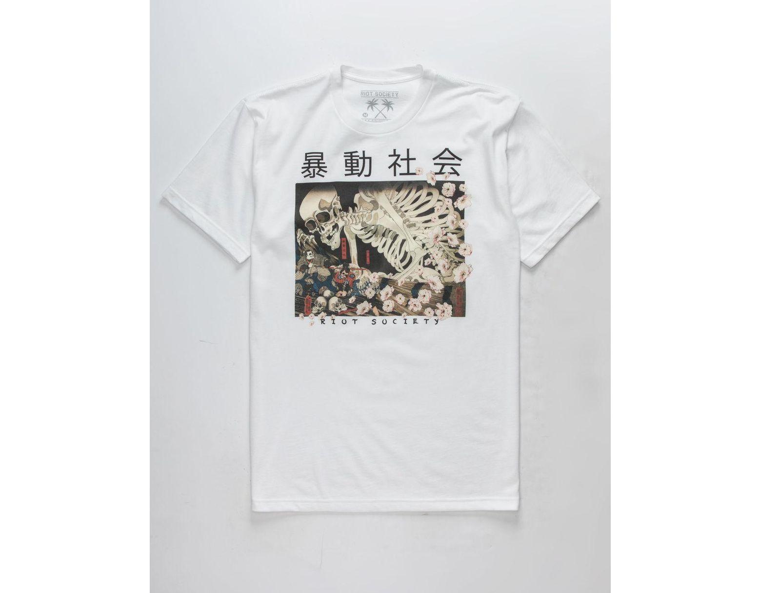 9507f4a30abc Riot Society Skeleton Samurai Mens T-shirt in White for Men - Lyst