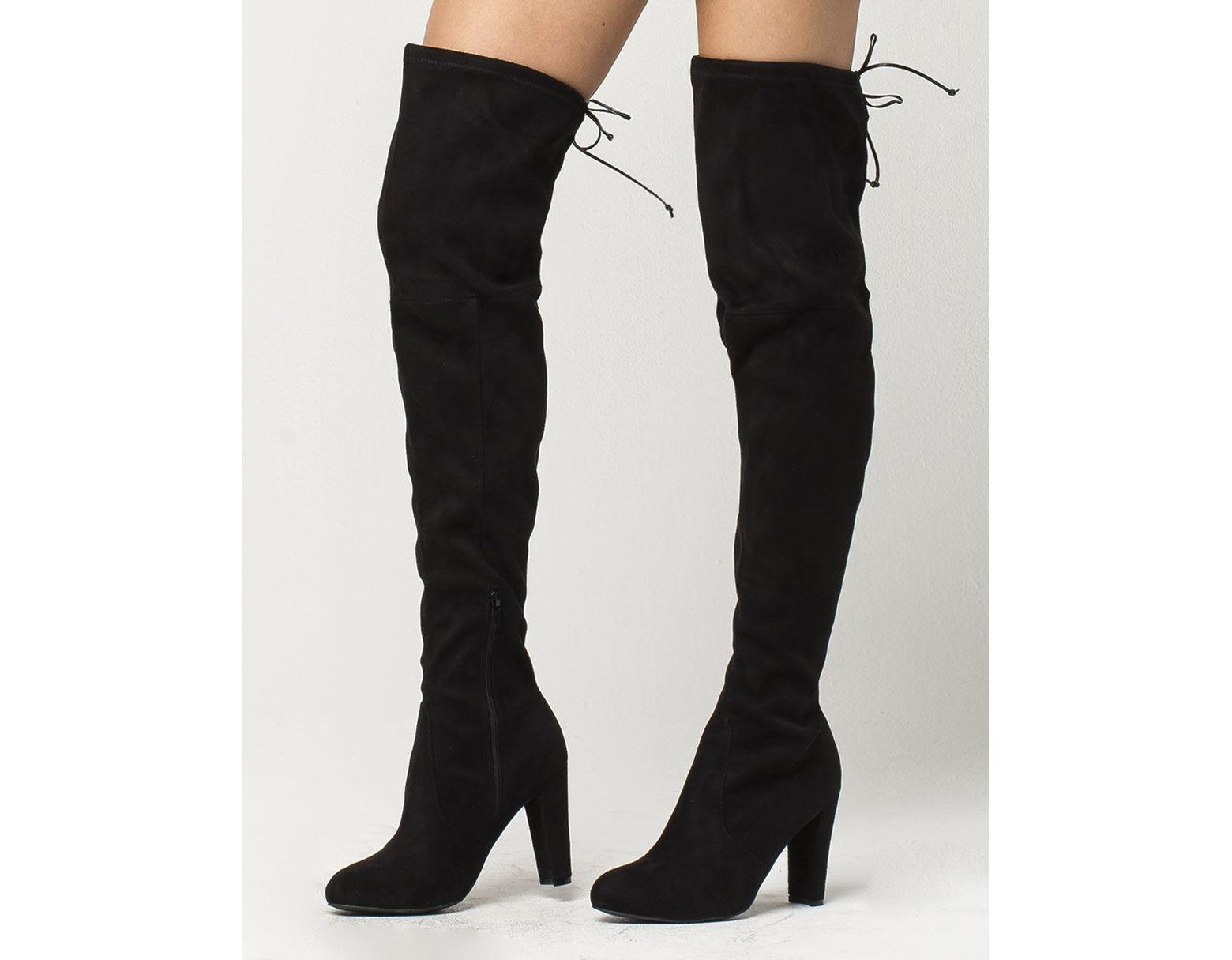 55535f95211 Black Over The Knee Heeled Womens Boots