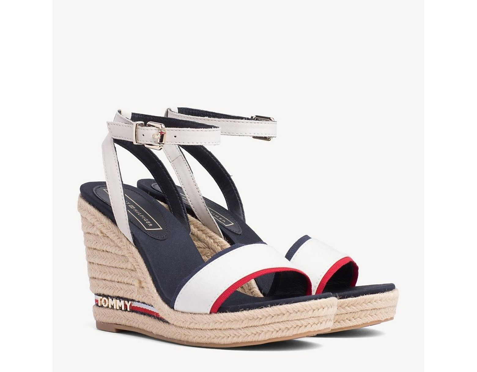 7e0d1428 Tommy Hilfiger Wedge Heel Signature Tape Sandals in Red - Lyst