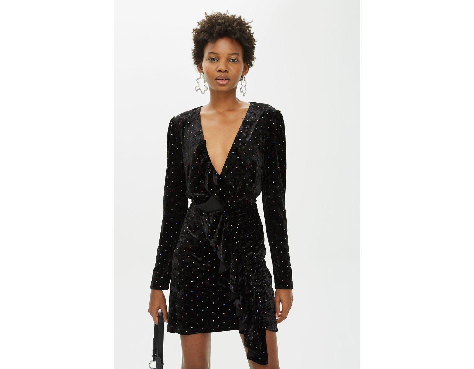 83e5a21a64cd TOPSHOP Stud Velvet Frill Dress in Black - Save 88% - Lyst