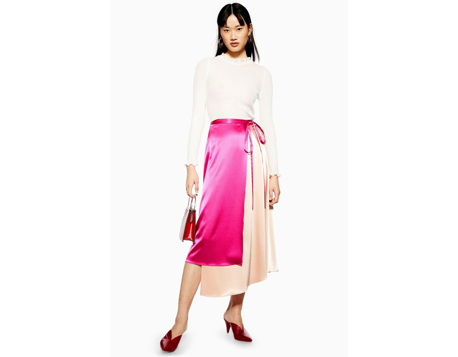 f282407ac TOPSHOP Colour Block Satin Midi Skirt in Pink - Lyst