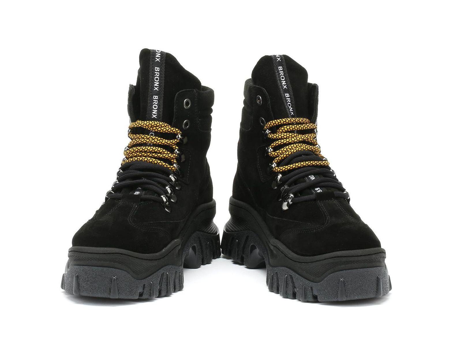 a6a17fe9054d7 Jaxstar Womens Black Hi-top Chunky Hiker Boots