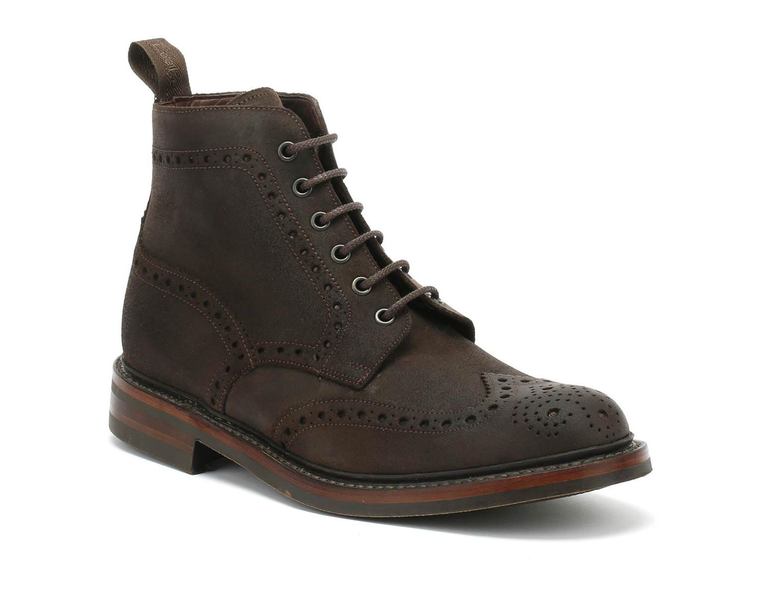 7d3e157663a Mens Dark Brown Waxy Bedale Brogue Boots