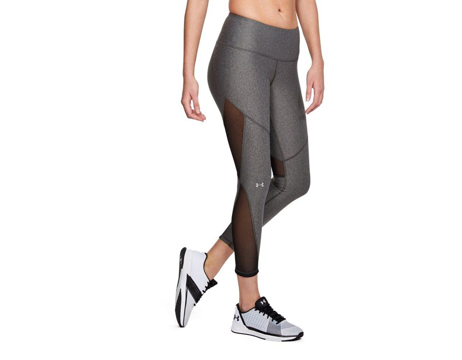 57e6df1868ea10 Under Armour Heatgear Armour Mesh Ankle Crop in Gray - Save 62% - Lyst