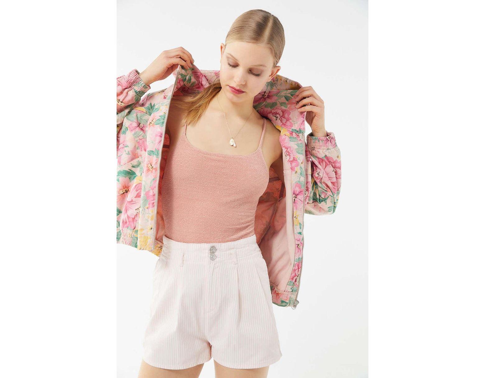 97da97269 BDG Floral Hooded Bomber Jacket in Pink - Save 67% - Lyst