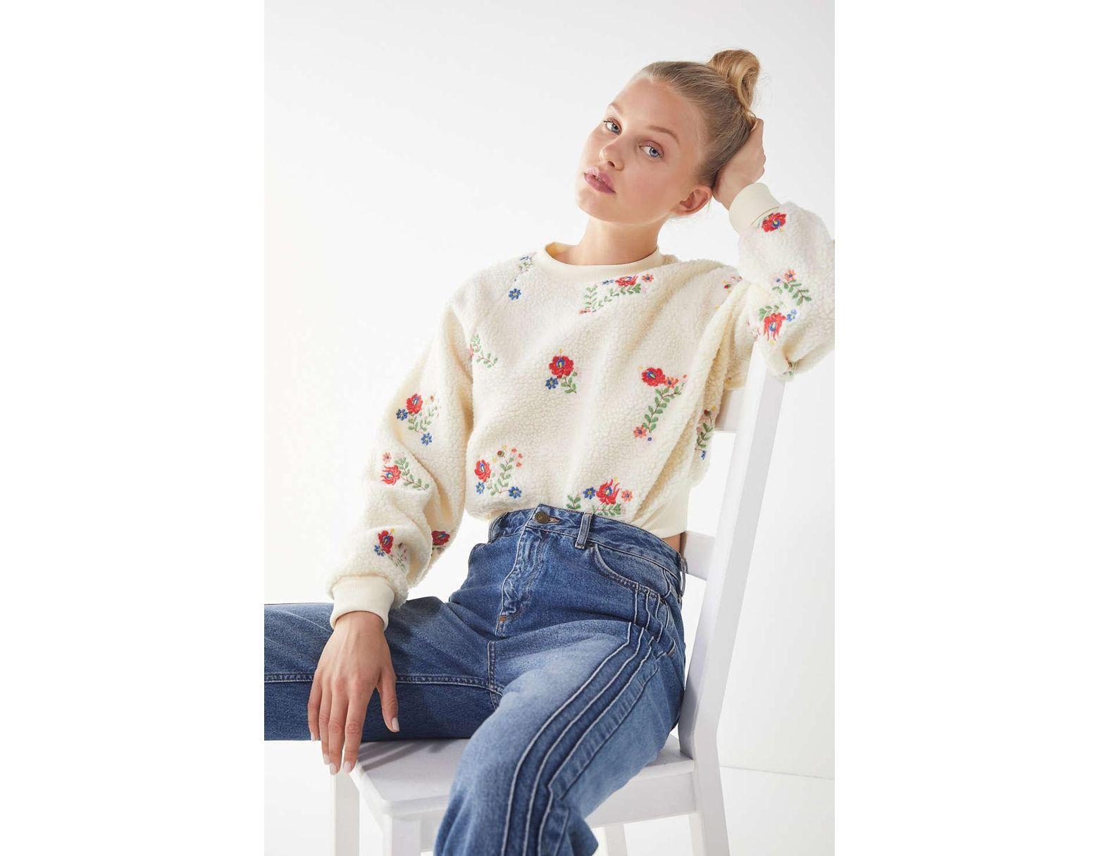 d0052790de6 Urban Outfitters. Women's Uo Aster Floral Sherpa Cropped Sweatshirt