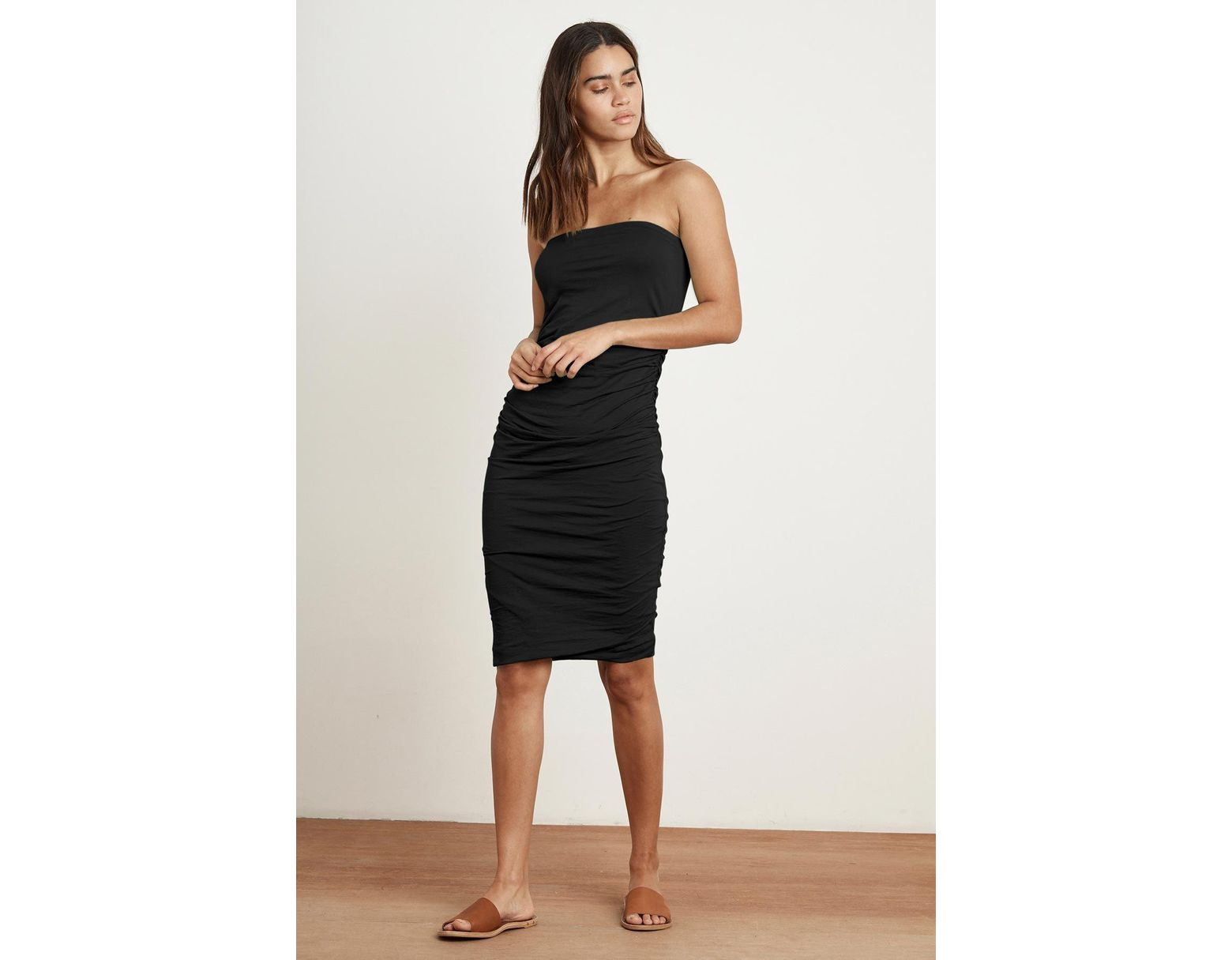Black Danna Women's Shirred Whisper Gauzy Dress Strapless N0ynvOm8w