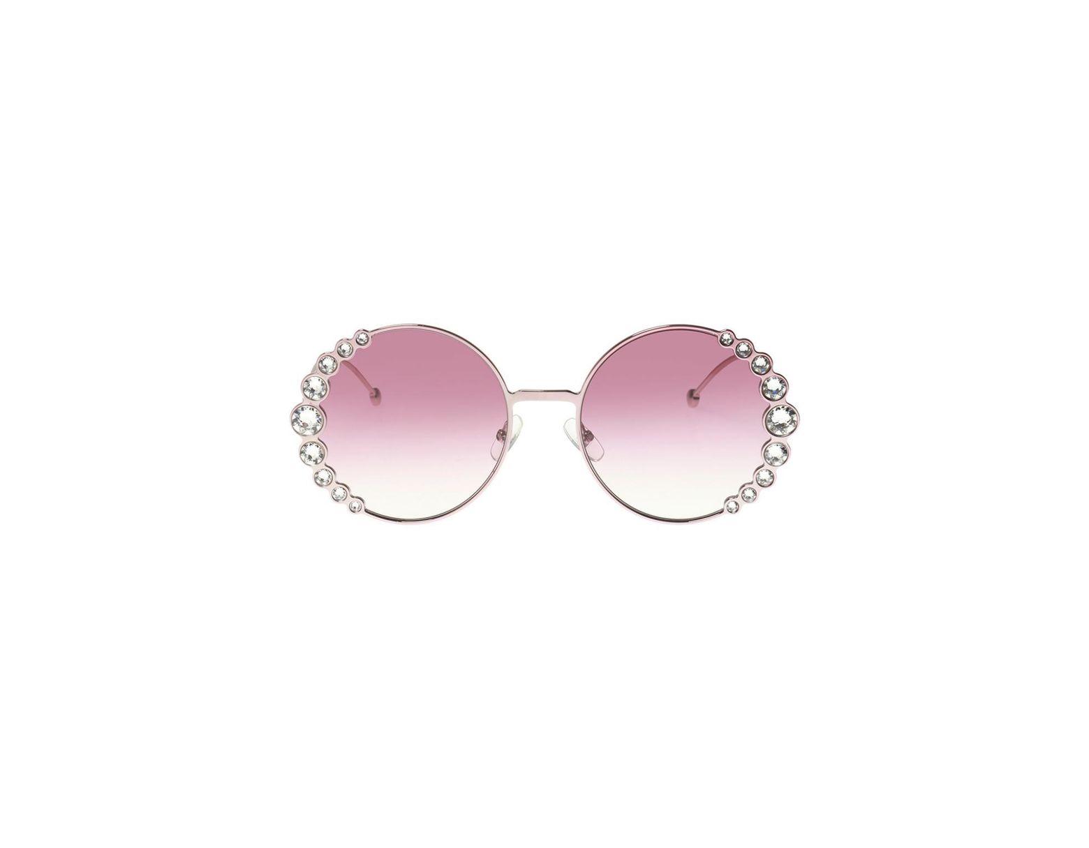 d3b7db06f6991 Lyst - Fendi Ribbons   Crystals Sunglasses in Pink - Save 12%