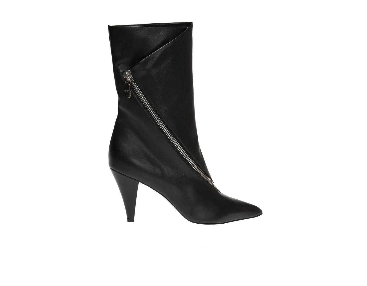 98998e4740d Women's Black Zip-detail 80 Leather Ankle Boots