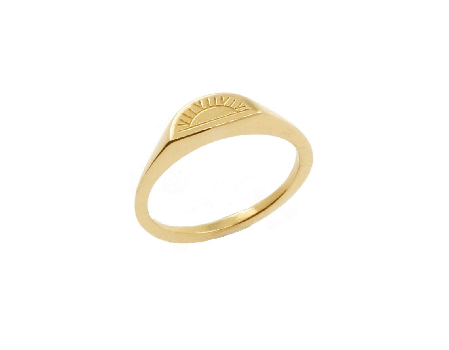 Women's Metallic Solid Gold Sun & Moon Signet Rings
