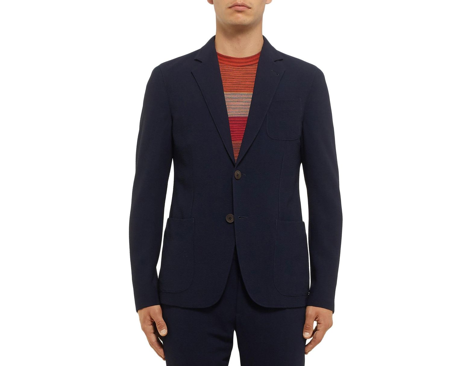 7f42a033a3f36 Giorgio Armani Upton Virgin Wool-blend Seersucker Suit Jacket in Blue for  Men - Save 50% - Lyst