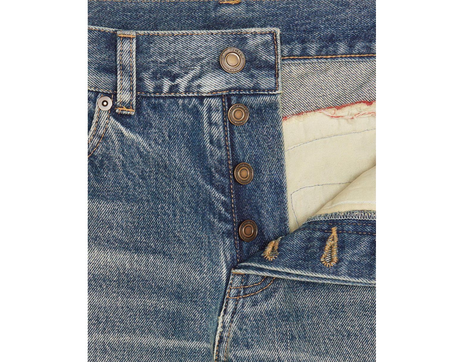 3c187e3f87 Men's Bandana Raw Edge Slim Jeans In Dirty Green Blue Denim