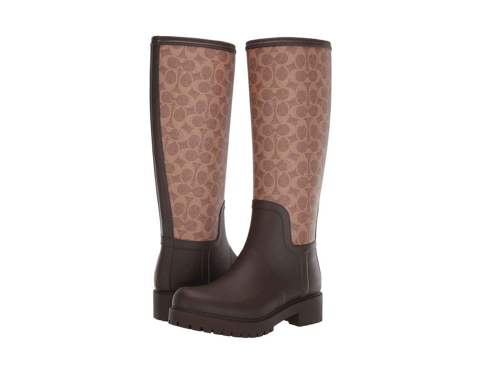 314b7dc402082 COACH Signature Rain Boot With Signature Coated Canvas in Brown - Save 55%  - Lyst