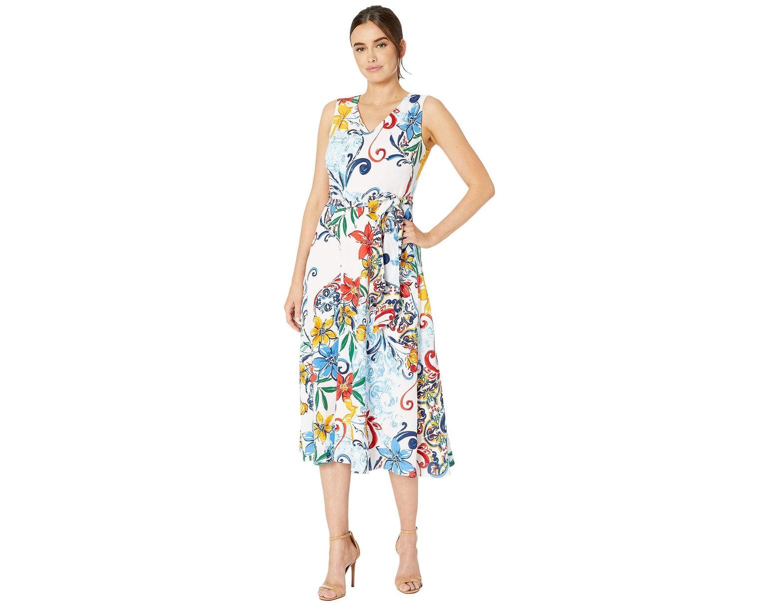 66ef2923b76d2 Women's Blue Multicolor Pebble Crepe Side Tie Dress
