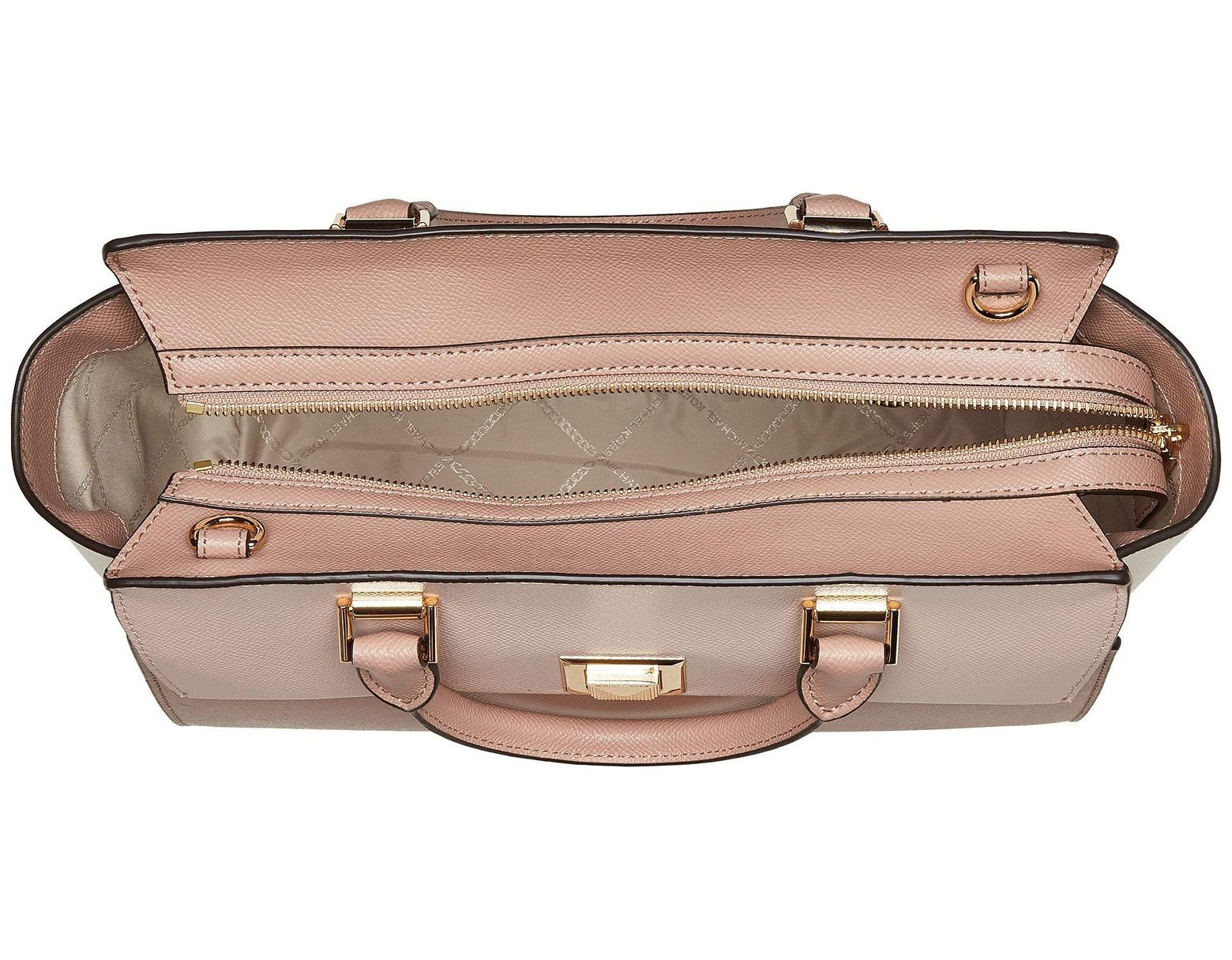 8efb99c6322c MICHAEL Michael Kors Sylvia Medium Top Zip Satchel (soft Pink/light Cream/fawn)  Satchel Handbags in Pink - Save 66% - Lyst