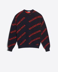Balenciaga Allover Logo Crewneck - Blue