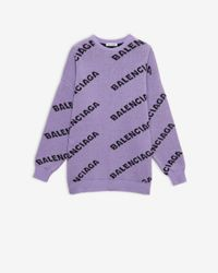 Balenciaga Logo-pattern Stretch-wool Jumper - Purple
