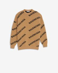 Balenciaga Allover Logo Crewneck - Natural