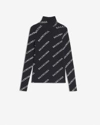 Balenciaga Allover Logo Open Back Turtleneck Jumper - Black