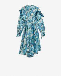 Balenciaga Vestido Twisted Ruffle - Azul