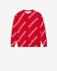 Balenciaga Allover Logo Crewneck - Red
