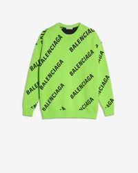 Balenciaga Oversized Intarsia Cotton-blend Jumper - Green