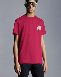 Moncler T-shirt Logo En El Pecho - Rosa