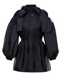 4 MONCLER SIMONE ROCHA Susan Bow Jacket In Navy - Blue