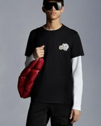 Moncler T-shirt With Logo On Chest - Black