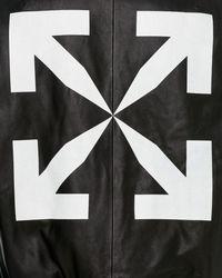 Off-White c/o Virgil Abloh Hooded Leather Bomber Jacket - Black