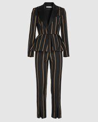 Self-Portrait Tailoring Stripe Jumpsuit - Black