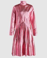 Cedric Charlier Turtleneck Pleated Dress - Pink
