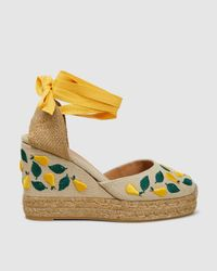 Castaner Carina Embroidered Wedge Espadrilles - Yellow