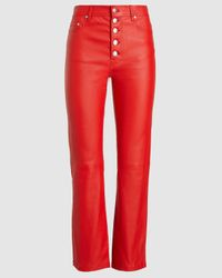 JOSEPH Den Stretch Leather Trousers - Red