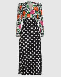 RIXO London Gretal Printed Silk Midi Dress - Black