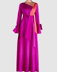 ‎LAYEUR‎ Tie Sleeve Trapeze Maxi Dress - Pink