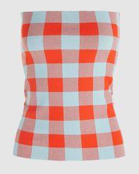 Jil Sander Check Print Corset Belt - Red