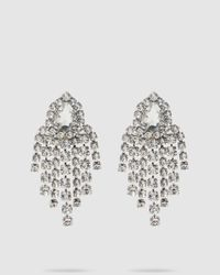 Alessandra Rich Crystal Pendant Earrings - Metallic
