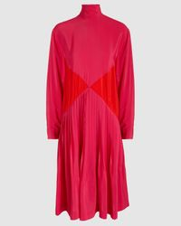 Cedric Charlier Color-block Pleated Crepe Midi Turtleneck Dress - Pink