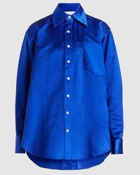 Matthew Adams Dolan Oversized Oxford Silk Shirt - Blue