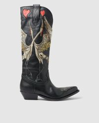 Golden Goose Deluxe Brand Wish Star Low Heel Embroidered Leather Boots - Black