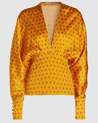 Silvia Tcherassi Emily Polka Dot Stretch-silk Top - Yellow