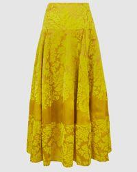 Rosie Assoulin Printed Lace Full Circle Silk Skirt - Yellow