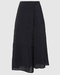 Cefinn Pinstriped Draped Voile Midi Skirt - Blue