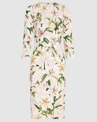Dolce & Gabbana Lily Print Pencil Skirt Midi Dress - Pink
