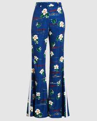 Racil Ziggy Tropical Print Wide Leg Viscose Pants - Blue