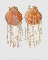 Mercedes Salazar Tropic Shell Chain Fringe Earrings - Orange