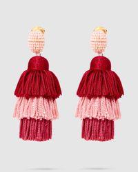 Oscar de la Renta Tiered Tasselled Earrings - Pink